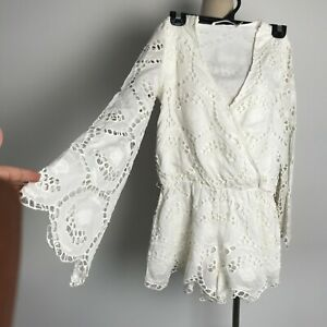 DESIGNER MINISTRY OF STYLE ROMPER PLAYSUIT SILK AND COTTON BLEND LACE SIZE 8 AUS