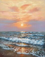 J. Litvinas Original Oil Painting 'OCEAN' 9.6 by 12 inches