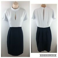 "Reiss Dress, Size UK8 US4 EU36 Contrast Keyhole, ""Cipriano"" Fitted Dress, Navy"
