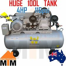 Commercial 4HP 3kW 240v Single Phase Air Compressor 100L TANK 8 Bar 116psi