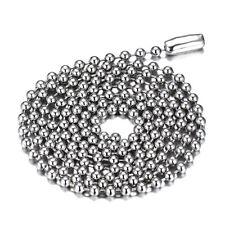 "24"" 2.4mm Silver Women Men Necklace Ball Chain Link Choker Stainless Steel Gift"