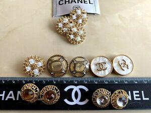 ❤ Lot Set 12 CHANEL CC logo buttons &1 Clothing Label Tag Sewing Replacement ❤