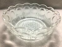 Vintage Clear Pressed Glass Medallion Bowl Condiment Candy Dish