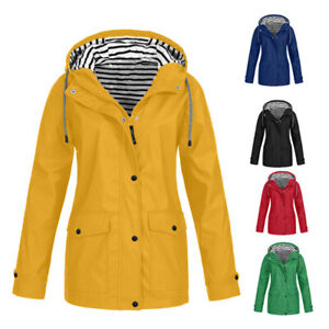 Women Waterproof Jacket Ladies Wind Raincoat Hooded Rain Forest Coat Ski Outdoor