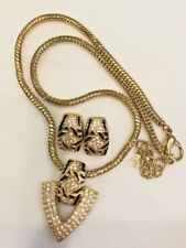 Vintage Christian Dior Signed Enamel and Crystal Necklace & Post Earrings Set