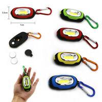 12x COB LED Keychain Portable Flashlight Key Ring Carabiner Camping Light Hiking