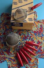 """NEW Vintage Ekco 8"""" Strainer w/Red Wooden Handle (NOS) Excellent Condition!"""