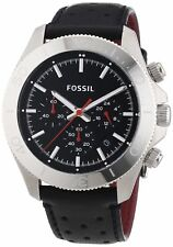 Fossil Retro Traveler Chronograph Leather Watch - Black Ch2859 USA SELLER