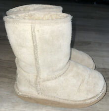 Toddler Girl's Size 10 UGG Kids Classic Sand Beige Leather Shearling Lined Boots