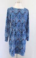 Ann Taylor Loft Blue Geometric Print Tie Waist Shift Dress Size PS SP Baroque