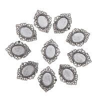 10 Antique Silver Oval Bezel Pendants Cabochon Trays Jewelry Necklace DIY