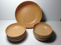 "Vintage Salad Bowls Ellingers Agatized Wood Six 5.75"" and 1 Unmarked 9 1/4"""