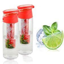 Trinkflasche mit Fruchteinsatz rot 2er Set Wasserflasche Sportflasche Behälter