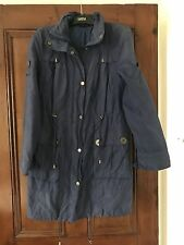 Marks And Spencer's Size 8 Blue Rain Coat With hood . Lined