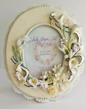 Lady Jayne Ltd Floral and Pearls Oval Frame White 4 by 5.25