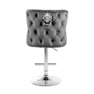 GREY Quilted Front Tufted back LION KNOCKER BAR STOOL