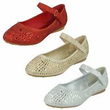 Niñas Spot on H2R612 gancho y bucle Brillo Diamante Fiesta Boda Zapatos Planos
