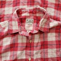 J Crew 100% cotton pink Red white plaid long Sleeve Shirt Button down Small