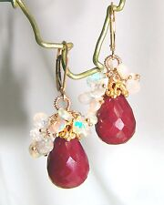 14k Gold GF Ruby Opal Moonstone Briolette Gemstone Earrings