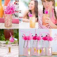10/20/50Pcs Flamingo Cocktail Drinking Straw Hawaiian Party Luau Fun Accessories