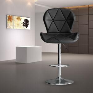 2pcs Bar Stools Breakfast Bar Chair Kitchen Stool Swivel Barstool Leather Padded