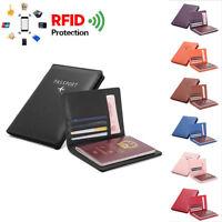 Travel Secure NFC RFID Blocking Leather Passport Holder ID Cards Pocket Wallet