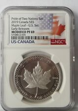 NGC PF69 ER 2019 PRIDE OF TWO NATIONS LTD EDITION 2 COIN SET Pre-Sale w//CofA