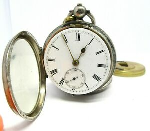 VINTAGE 1914 SILVER  Pocket Watch. NOT WORKING