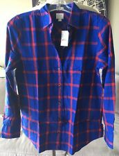 J. Crew Factory Women's Boy Fit Plaid Flannel Shirt Red Navy XS New NWT