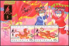 Christmas Island 1998 YO Tiger/Greetings/Animals/Lunar Zodiac/Luck 2v m/s b7199