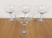 4x alte Mundgeblasene Glas Sekt Schalen/Gläser  13cm x 9,5cm