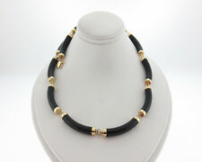 "Solid 14k Yellow Gold Black Onyx Choker Necklace 16"" Chain"