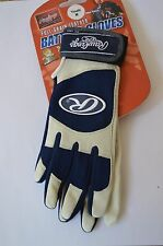 Rawlings Youth Batting Gloves Pair Large Navy 350 Series Leather Baseball