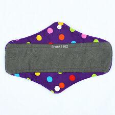 "Reusable CHARCOAL Bamboo Menstrual Sanitary Maternity Minky Pad Dot Regular 10"""