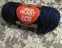 NEW RED HEART SUPER SAVER Soft Navy Blue Medium Yarn 198 g Acrylic USA 0387 6563