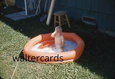 KODACHROME 35mm Slide 1960 cute image toy boat in backyard swimming pool boy