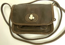 FOSSIL Brown Leather Small Crossbody Purse Turn Lock Bag