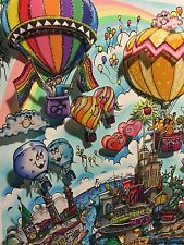 "Fazzino: Original 3D ""RAINBOWS AND BALLOONS OF MANY COLORS"", gerahmt + RIZZI Pin"