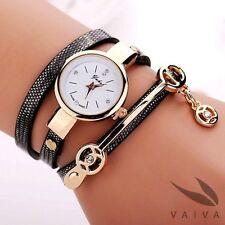 Fashion bracelet watch w. charms - black