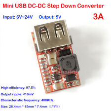 USB DC-DC 6V 9V 24V to 5V 3A Buck Step-down Converter Car Mobile Phone Charger