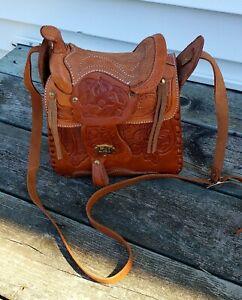 Western Saddle Purse Leather Handbag For the horse lover Light Brown