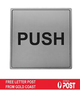 Push Door Sign Silver Acylic Engraved Entrance Self Adhesive Tape Silver Plaque