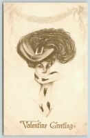 Artist Valentine~Lovely Lady in Ermine Fur Boa~Edwardian Feather Hat~Gibson Art