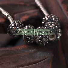 10pcs Big Hole Crystal Rhinestones Clay Loose Spacer Beads fit European Bracelet