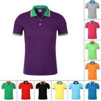 Mens' Shirt Short Sleeve Cotton T-Shirt Casual Breathable Turn-down Top NG