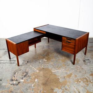 Mid Century Modern Desk Executive L shaped Jens Risom Walnut Leather Large Black