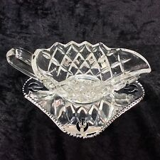 Vintage Pressed Glass Cream Jug CELTIC Plate Sauce Boat & Tray Made In England