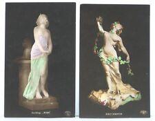 old Risque RPPC Postcard lot ~ Aida Bacchantin Statue Nude Women ~ 2 postcards