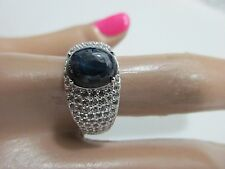 STERLING SILVER RING BLUE STAR SAPPHIRE SZ-8