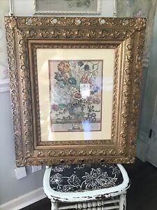 "Antique Vintage Gold Large Hand-Carved Wood Gesso Ornate Picture Frame 30""x26"""